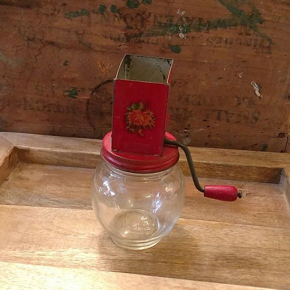 Vintage tin top Glass Nut Spice Grinder